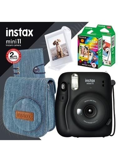 Instax Instax Mini 11 Siyah Fotoğraf Makinesi Ve Jean Aksesuarlı Mega Hediye Seti Siyah